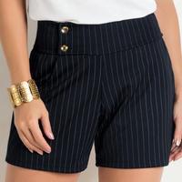 Moda Pop - Short Risca de Giz com Botões Frontais