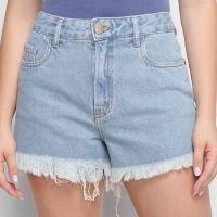 Short Jeans Oh, Boy! Barra Desfiada Feminino - Azul