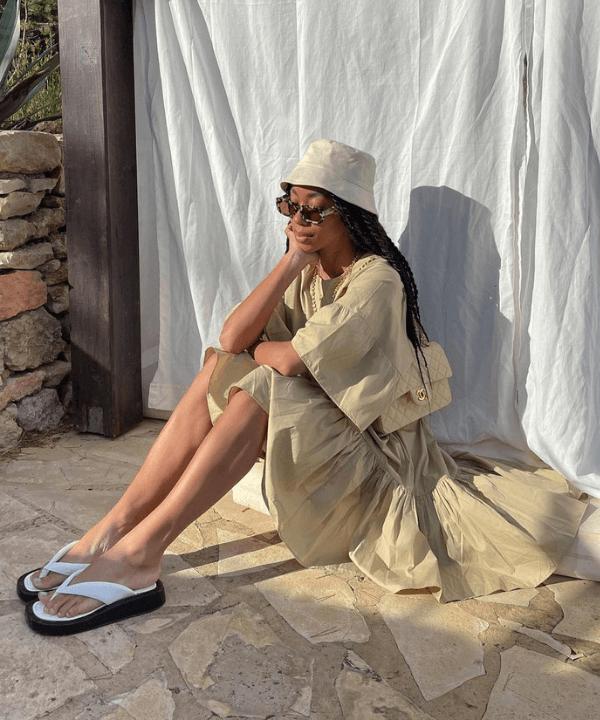 Amaka Hameliknck - Vestido - como usar chinelos - Verão - Steal the Look  - https://stealthelook.com.br
