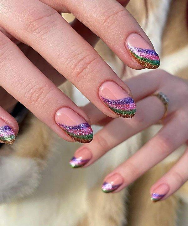 nail art - unhas psicodélicas - esmalte com glitter - glitter psicodélico - nail art com purpurina - https://stealthelook.com.br