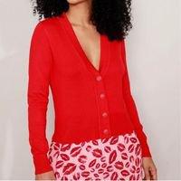 cardigan de tricô básico decote v vermelho