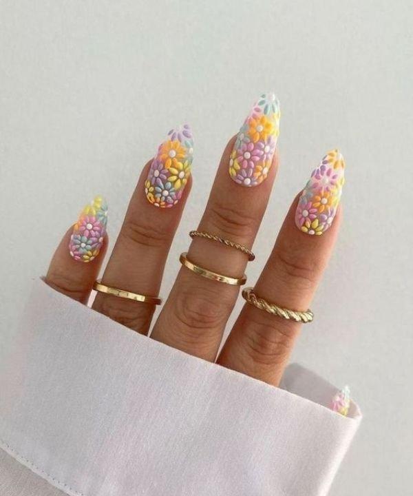 nails flower - nails art - unhas postiças - aplicação de unhas postiças - unhas desenhadas - https://stealthelook.com.br