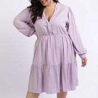 vestido feminino mindset plus size curto manga longa com babado lilás