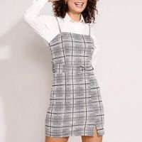 vestido de jacquard estampado xadrez com cinto e fenda curto alça fina preto