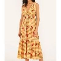 vestido midi pitanga vichy