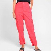 Calça Cargo Morena Rosa Cintura Alta Feminina - Vermelho