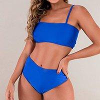 Biquíni MVB Modas Top Faixa Hot Pants Cintura Alta Feminino - Azul
