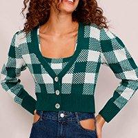 cardigan feminino de tricô estampado xadrez vichy cropped decote v verde