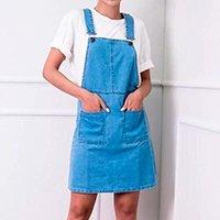 Vestido Salopete em Jeans com Bolsos - Azul