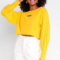 Blusão Moletinho Colcci Cropped Feminino - Amarelo