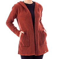 casaco de malha feminino com capuz sumaré 31168 - p