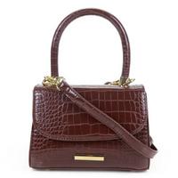 Bolsa Santa Lolla Handbag Croco Alto Brilho - Marrom