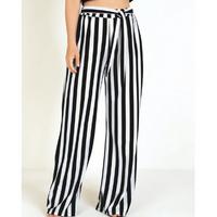 Queima Estoque - Calça Pantalona Listrada e Amarração na Cintura