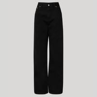 calça reta loose de sarja cintura super alta mindset preta