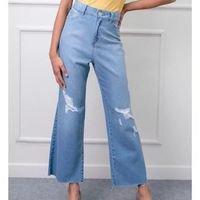 Calça Jeans Pantacourt com Rasgos - Azul