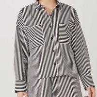 Camisa Feminina Oversized Listrada Com Abertura Lateral - Branco