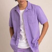 camisa comfort de sarja manga curta roxo