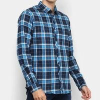 Camisa Xadrez Manga Longa Forum Super Slim Fit Masculina - Azul