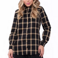 Camisa manga longa xadrez - Bege
