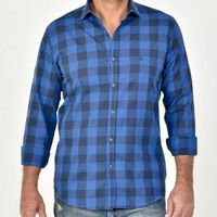Camisa Dimarsi Slim Fit ML Xadrez Madras 8702 - Azul