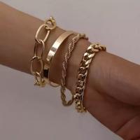 Pulseira Bracelete Dourada 4pçs Correntes - DECORMAXX