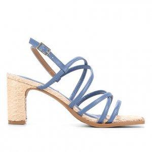 Sandália Shoestock Tiras Salto Ráfia - Feminino - Azul