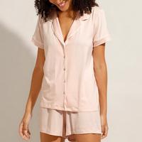 pijama camisa manga curta com vivo contrastante rosê