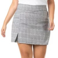 Shorts Saia Xadrez Plus Size Confidencial Extra Feminino - Cinza