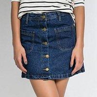 saia jeans botão
