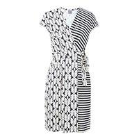Vestido preto e branco estampado