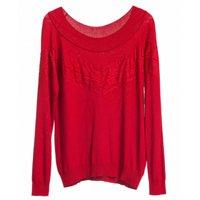 blusa tricot suéter vermelha renda